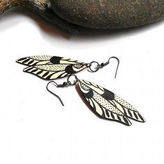 Painted wood earrings pale yellow and black wings by CrowsdanceDesigns, $25.00 USD
