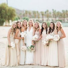 Inspired By This (@inspiredbythisblog) | The beautiful desert backdrop has nothing on this stunning bridal party #onIBTtoday. Who else is loving the blush & **** combination of gowns?! (Link in Profile, Photo by @sisterleephotography) #IBTwed #everydayIBT #bridesmaids #desertwedding #wedding #blush | Intagme - The Best Instagram Widget