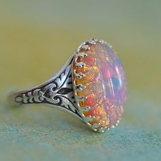 Pink Fire glass Opal and ox. Silver Ring by ElvesGarden on Etsy, $22.00