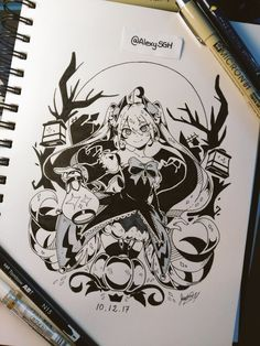 INKTOBER DAY 12: Halloween Miku | More artworks | Amazing Drawings, Beautiful Drawings, Cute Drawings, Black Artwork, Christmas Drawing, Anime Sketch, Drawing Skills, People Art, Anime Art Girl