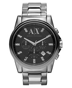 A|X Armani Exchange Watch, Men's Chronograph Stainless Steel Bracelet 45mm AX2092 - A|X Armani Exchange - Jewelry & Watches - Macy's $180