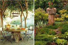 utilisez les souches d'arbres pour faire des tables