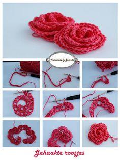 Crochet Rose - Tutorial - looks like just how I make my crochet roses!