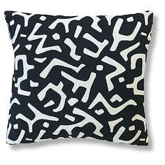 Nara 20x20 Pillow, Black/Ivory