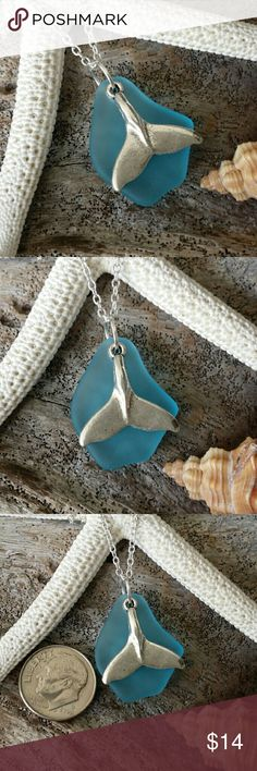 Blue sea glass whale tail charm beach necklace. This is a sea glass pendant with a 925 sterling silver chain.The chain is a 20 inches long.It comes in a great gift box,Perfect for you or as gift to family members or friends. Jewelry Necklaces
