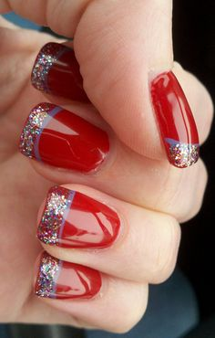 French Manicure Christmas Nail Designs, Hello readers, for today's inspiration we wanna share Magnificent French Nail Art Design Idea with red and green ...