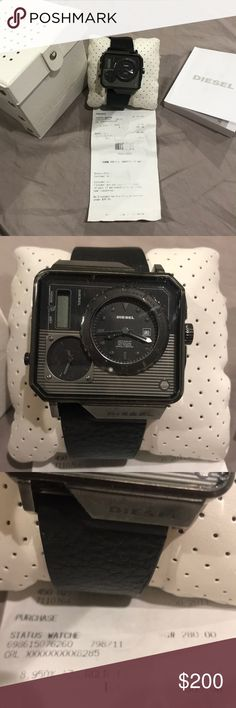 Like new Diesel Status watch Like new  Chronograph with digital time and date  Leather strap  Comes with manual & box Diesel Accessories Watches