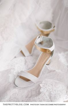 White Strapped Heel with a Gold Metal Accent | Photography by Tasha Seccombe Photography