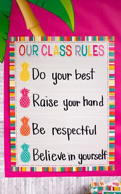"""Add adorable pineapple accents to the Tropical Punch Our Class Rules Chart to make an eye-catching and 'sweet' look - Convenient, useful learning tools that decorate as they educate! Each chart measures 17"""" by 22"""". Related lessons and activities are provided on the back of every chart."""