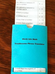 Words into Math - Taming Troublesome Phrases with an interactive foldable translator