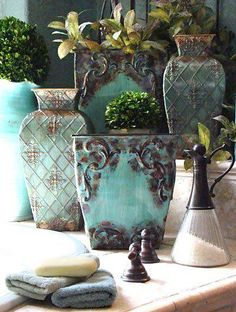 Lovely vases in turquoise