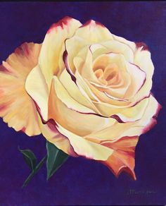 Yellow rose, acryl painted by Monique Heijnis (50 x 60)
