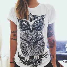 Owl Zentangle Crew Neck, Zen, Zentangle, Cute Top, Cute Shirt, Rave, Rave wear, Edm, Edm Gear by ElectroThreads on Etsy