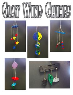 themed clay slab windchimes