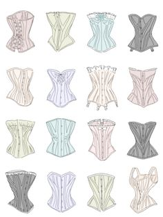 different types of corsets.  some lingerie inspiration for you.