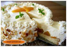 Glutenfreie Pfirsich-Sekt-Torte. Ein Hingucker auf jeder Kaffeetafel! Das Rezept gibt es unter: www.rezepte-glutenfrei.de #glutenfrei #sweetmasterpieces