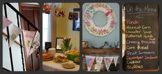 Baby shower!!  Children's book theme.    (from left to right) Children's book flags as decoration, appetizers with ultrasound picture on top of book stack and weekly pictures of mom's baby bump hanging above, diaper wreath, chalk board menu for lunch