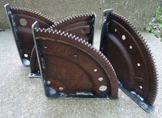 Free shipping! Scrapyard Art Engine Gear Shelf Brackets #RusticPrimitive