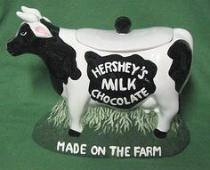 Cookie Jar Hershey's Milk Chocolate Ceramic Cow Cookie Jar 1998.