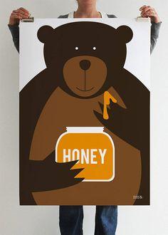 honey bear art print by showler and showler | notonthehighstreet.com
