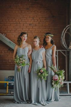 Bridesmaids Dresses Made To Order By New Zealand Based Designer Caroline Campion Available For Delivery To The UK & Europe | Industrial & Botanical Wedding Inspiration | Exposed Brick | Image by Susannah Blatchford Photography | http://www.rockmywedding.co.uk/bridesmaids-dresses-by-caroline-campion/