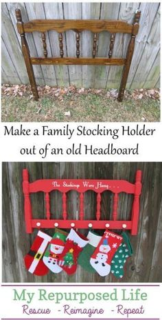 headboard stocking holder MyRepurposedLife christmas gifts for colleagues, christmas gift presentation, presents christmas Christmas Stocking Hangers, Diy Christmas Ornaments, Diy Christmas Gifts, Christmas Projects, Holiday Crafts, Christmas Stockings, Christmas Wreaths, Christmas Crafts, Homemade Christmas