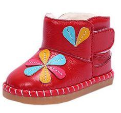 La vogue Baby warm gefüttert Lederschuhe Blume Schnee Stiefel Fleece Boots (20, Rot)