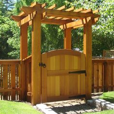 Signature Wood Gates by Sederra - Clear cedar garden archtop gate with a pergola (sold separately)