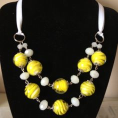 Yellow glass necklace with ribbon neck. Ashley inspiration.  ;)