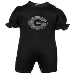 Georgia Bulldogs Infant Girls Black Rhinestone Romper