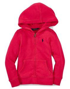 NWT Ralph Lauren Girls Fleece Pink Full Zip Hoodie Size 2T #RalphLauren #Hoodie #Everyday