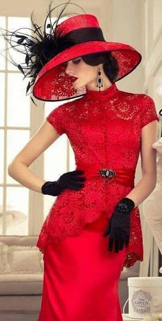 Lady in Red. A photograph of a beautiful woman wearing an elegant red dress and hat with black feathered accessories. Red Fashion, Fashion Beauty, Vintage Fashion, Womens Fashion, Royal Fashion, Look Retro, Fancy Hats, Glamour, Mode Vintage