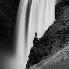 great waterfall bw photo