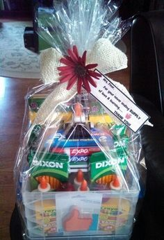 """Teacher Appreciation school supply gift basket that I created....""""For your never ending SUPPLY of love & learning.....Thank You!"""""""