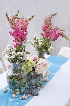 Under water inspired flowers from Littlest Mermaid 1st Birthday Party at Kara's Party Ideas. See more at karaspartyideas.com!