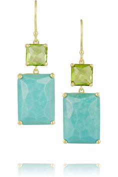 Ippolita|Rock Candy 18-karat gold, peridot and turquoise earrings(=)