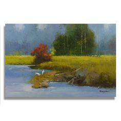 Artist: Berlinda Title: 2 white egrets by creek bank Product type: Gallery-wrapped Canvas Style: Contemporary Format: Landscape Size: Large Subject: Contemporary Image dimensions: 36 inches x 24 inche