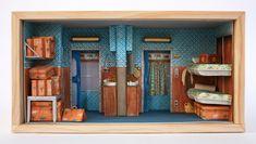 wonderfully detailed dioramas based on Wes Anderson'sThe Darjeeling Limited by Barcelona-based illustrator Mar Cerdà