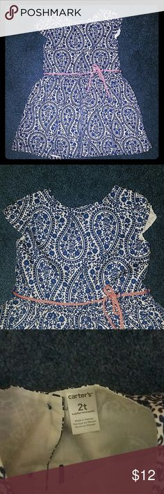 Toddler Girl Dress Carter's toddler girl dress. Blue and white with coral belt. Worn once for pictures. Like new nothing wrong with it. Size 2T. Also selling coral cardigan to match. Carter's Dresses Casual