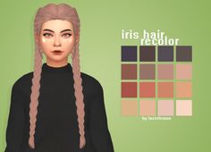 """lazerlemon: """" iris hair recolor mesh by @kotcatmeow • you need the mesh; here • in the saccharine palette • please don't steal and tag me if you use it! • download; mediafire """""""
