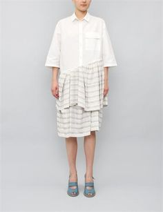Christian Wijnants Dagles Shirt Dress- White/Light Grey Stripe - $620.20, orig. $886  There's a lot I could do with $886. Buying this dress would not be one of them.