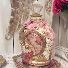 Altered bottle, shabby chic Paris, Marie Antoinette style, pink & gold, crown royal xr bottle