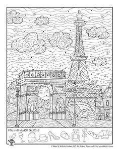 French Worksheets, Worksheets For Kids, Activities For Kids, Hidden Object Puzzles, Hidden Picture Puzzles, Eiffel Tower Craft, Paris Eiffel Tower, Eiffel Towers, Pre K Homeschool Curriculum