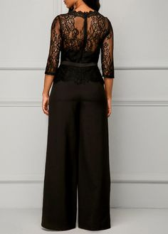 Scalloped Neckline Peplum Waist Lace Panel Black Jumpsuit on sale only US$38.04 now, buy cheap Scalloped Neckline Peplum Waist Lace Panel Black Jumpsuit at liligal.com
