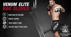 Designed for heavy bag training with optimal performance in mind, the Venum Elite Bag Gloves are made with a premium skintex leather construction for super Mma Gear, Mma Gloves, Mma Equipment, Compression Shorts, Mixed Martial Arts, Rash Guard, Ufc, Mesh, Training