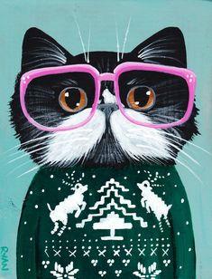 """Открытка """"Черный кот в забавном Рождественском свитере"""" ©Райан Коннерс  Размер: 10 x 15 см Материал: картон, 350 г/м² Покрытие: глянцевая ламинация"""