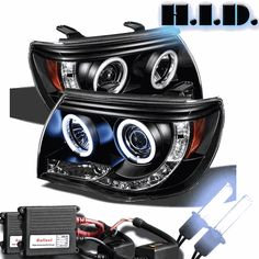 Xenon HID Kit + 05-11 Toyota Tacoma Angel Eye Halo LED Projector Headlights - Black