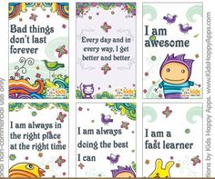 PDF file to download with lovely affirmation cards to use with kids. More