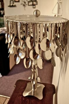 DIY lamp made of garage sale spoons ...I like it!