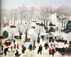 "Sugaring Off. Anna Mary Robertson Moses, better known as ""Grandma Moses"", was a renowned American folk artist. She is often cited as an example of an individual successfully beginning a career in the arts at an advanced age. Grandma Moses, Art Beauté, Primitive Folk Art, Winter Art, Winter Time, Naive Art, Outsider Art, Illustrations, Winter Scenes"